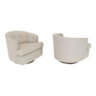 Vintage Mid Century Solid Linen Upholstery Barrel Back Swivel Chairs- A Pair For Sale