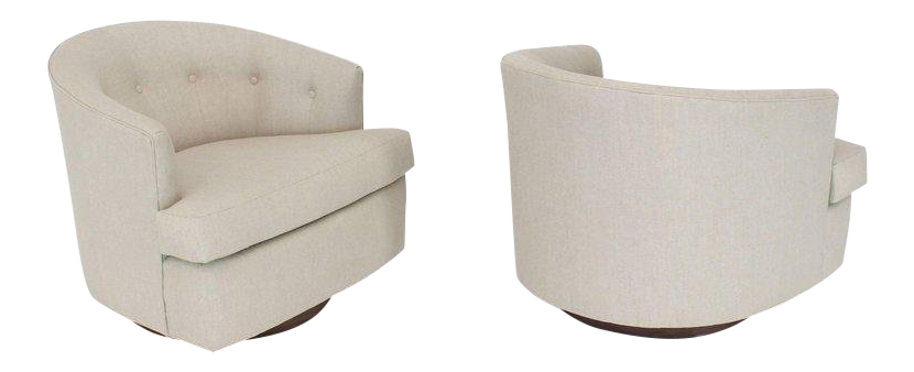 Vintage Mid Century Solid Linen Upholstery Barrel Back Swivel Chairs  A  Pair For Sale