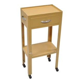 """Vintage 31"""" Steel Metal Industrial Modern Dental Medical Cart Side Table Nightstand"""