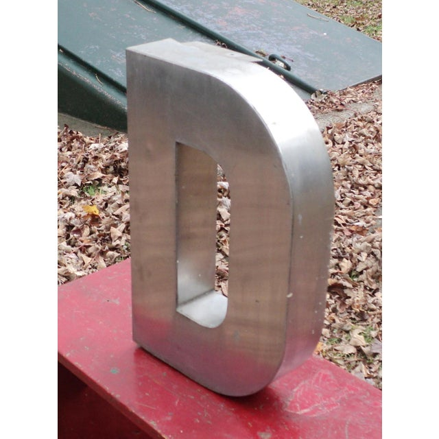 """Antique Industrial Stainless Steel Metal Letter """"D"""" - Image 3 of 5"""