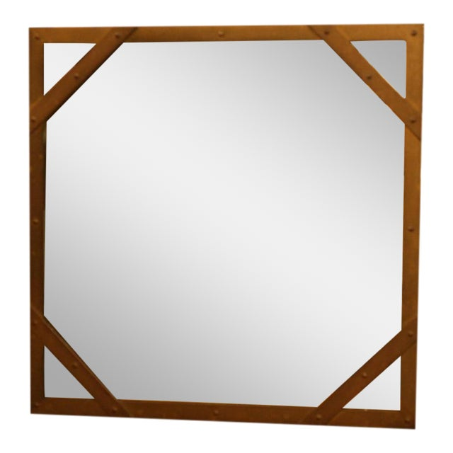 Sarreid Ltd. Studded Square Brass Frame Mirror For Sale