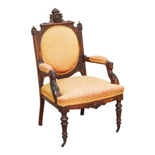 Victorian Renaissance Carved Walnut Armchair