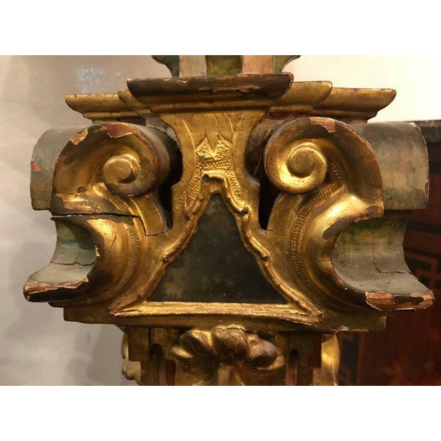 A Continental Italian Gilt Distressed Continental Pedestal For Sale - Image 9 of 11