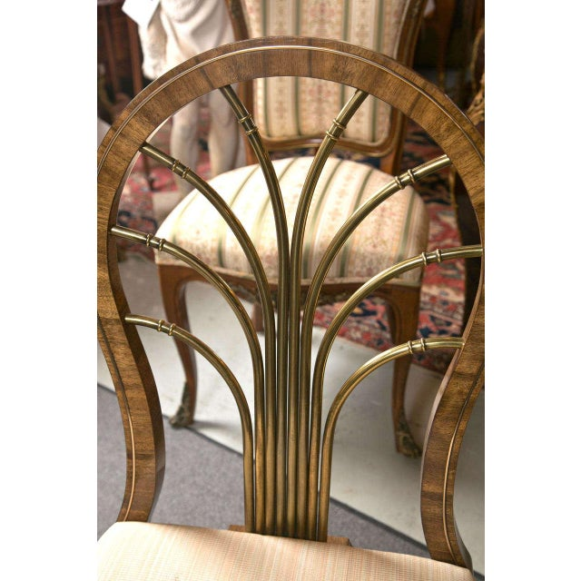 Set of Six Art Deco-style dining chairs with brass back splats by Mastercraft. The lower rail trimmed with a brass lining...