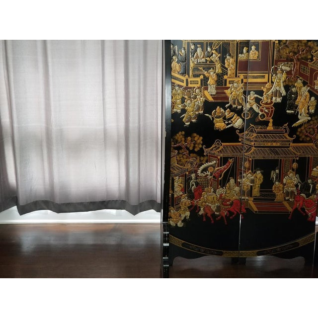 Metal Large Vintage Black and Gold Round Asian Screen or Room Divider For Sale - Image 7 of 8