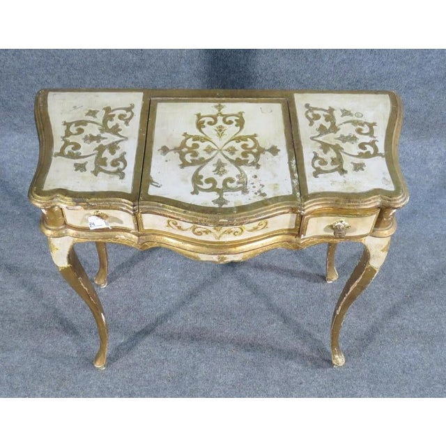 Florentine Italian Gilded Gold Leaf Ladies Mirrored Vanity Makeup Table C1920 For Sale - Image 9 of 10