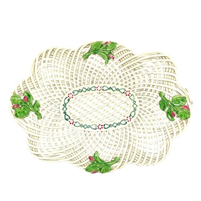 19th Century Openwork English Ceramic Woven Basket For Sale - Image 4 of 4