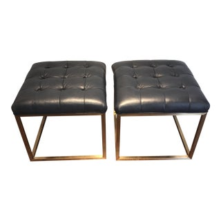 Pair of Brass and Leather Modern Benches by Rowe For Sale