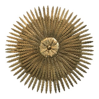 Gold Gilt Iron Starburst Wall Decor For Sale