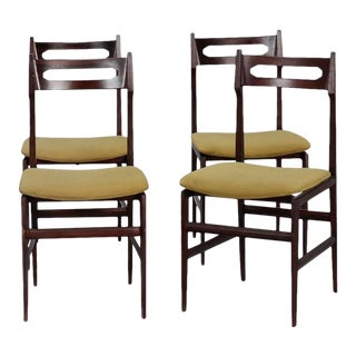 Mid Century Gianfranco Frattini Style Dining Chairs - Set of 4 For Sale