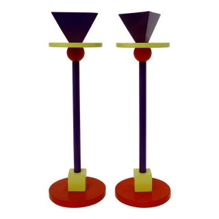 Memphis Metal Candlesticks, a Pair For Sale