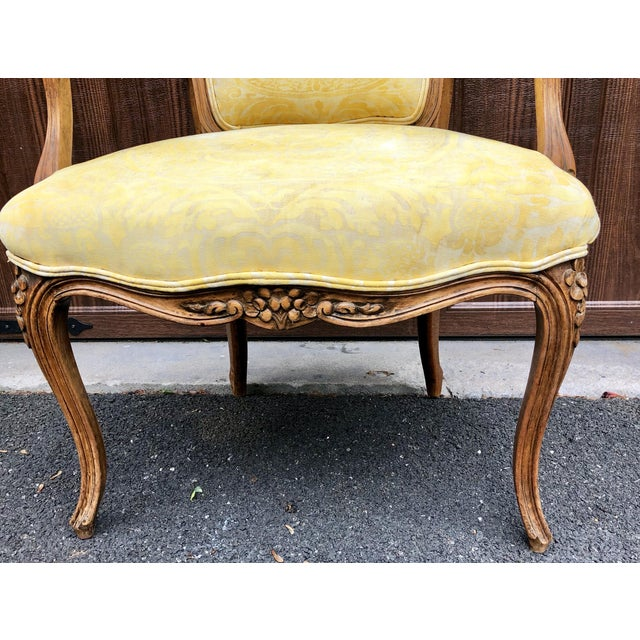 19th Century Louis XV Fauteuil in Fortuny Fabric For Sale - Image 10 of 12