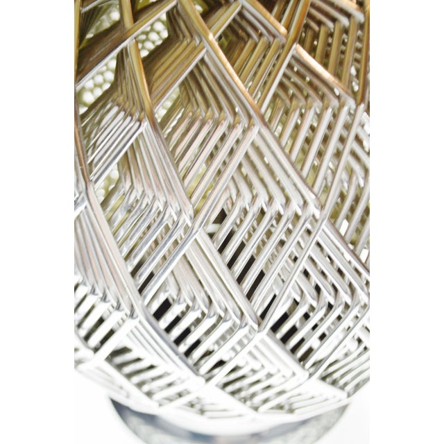 Metal Vintage Brutalist Style Woven Metal Look Table Lamp For Sale - Image 7 of 13
