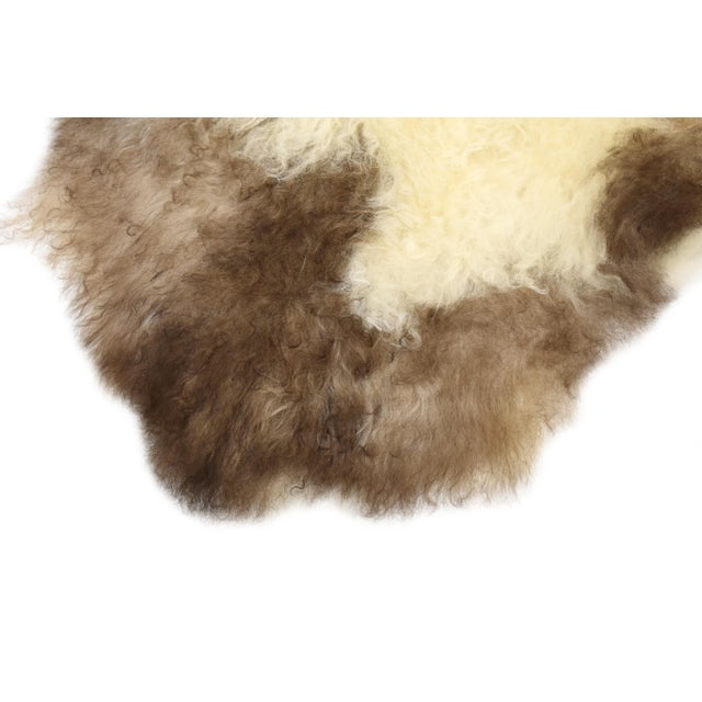 "Unique Handmade Beige Brown Wool Sheepskin Rug, Seat Cushion - 2'7"" X 4'3"" - Image 6 of 8"