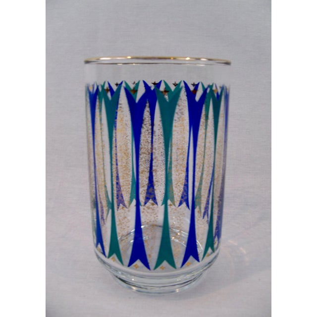 1950s Mid-Century Gold, Blue & Teal Glasses - Set of 24 For Sale - Image 5 of 7