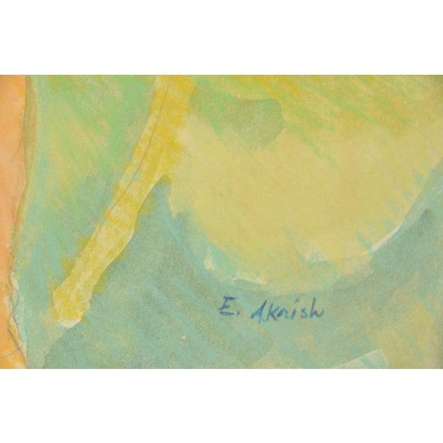 "Esther Akrish ""Nude With White Robe"" Original Mixed Media - Image 4 of 4"