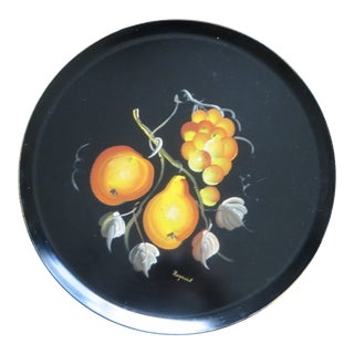 Vintage Black Hand Painted Fruit Round Tole Tray For Sale