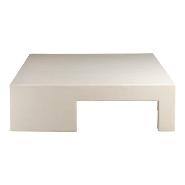 Low Square Table With Alternate Legs - Cream Lacquer by Robert Kuo, Limited Edition For Sale