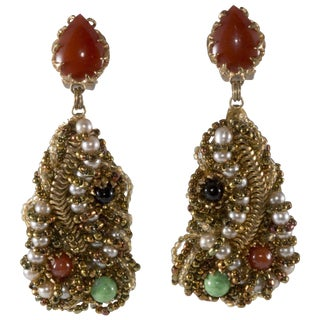Ornella Earrings Italian Modernist 1960s Beaded Dangle MCM Italy Designer Vintage For Sale