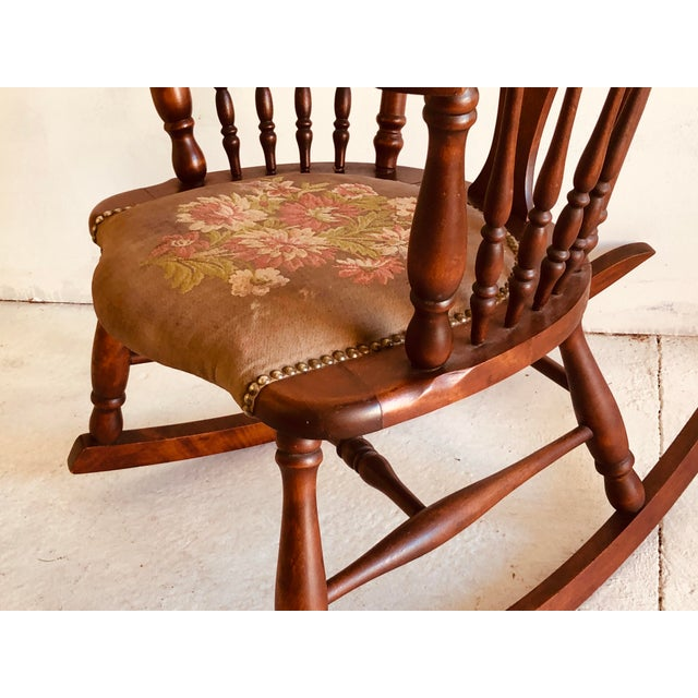 Victorian Antique Rosewood Tapestry Rocking Chair Victorian Vintage For Sale - Image 3 of 7