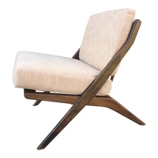 Contemporary Walnut Slipper Chair- Custom Made For Sale
