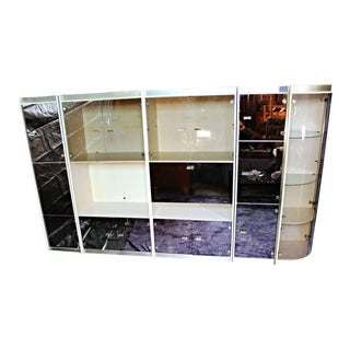 5-Piece Smoked Glass Display China Cabinet Bar Wall Unit Bookcase For Sale