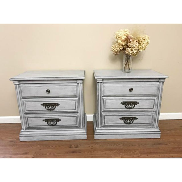 Shabby Chic Light Grey Glazed Nightstands - Pair For Sale - Image 3 of 7