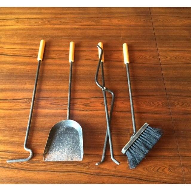 Vintage Modernist Iron Birch Fireplace Tool Set - Image 5 of 6