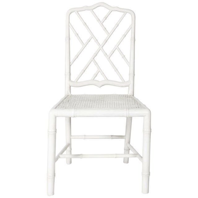 White Painted Faux Bamboo Side Chair - Image 2 of 8