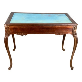 French Blue Leather Inlay Writing Desk For Sale