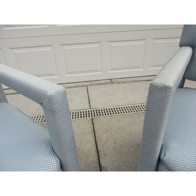 Blue Late 20th Century Parsons Style Arm Chairs -A Pair For Sale - Image 8 of 13