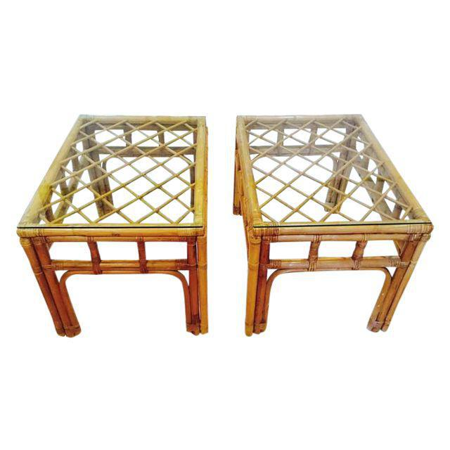Vintage Bamboo Fretwork End Tables Glass Top Set - a Pair - Image 6 of 7