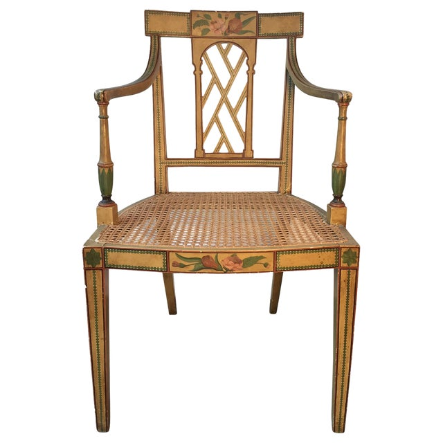 19th Century English Floral Painted Armchair For Sale