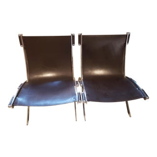 Mid Century Modern Antonio Citterio for Flexform Chrome & Leather Lounge Chairs- a Pair For Sale