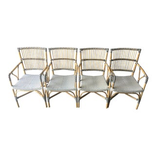 Modern Veranda Rattan and Synthetic Woven Armchairs- Set of 4 For Sale
