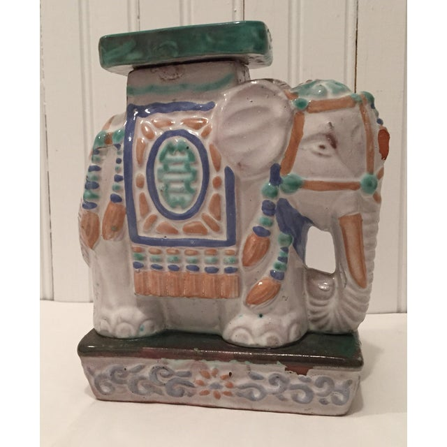 Vintage Painted Terra Cotta Elephant - Image 2 of 7