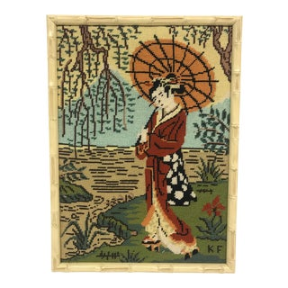 Japanese Lady Needlepoint Wall Hanging For Sale