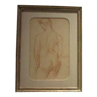 Original Sepia Drawing of a Female Nude Drawn in the 1940s For Sale