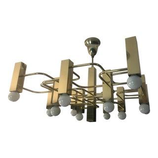 Mid Century Modern Geometric Brass Chandelier
