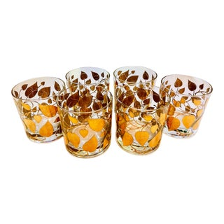 Georges Briard Gold Leaves Rocks Cocktail Glasses - Set of 6 For Sale