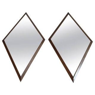 Large Pair of Mid-Century Diamond Shape Mirrors For Sale