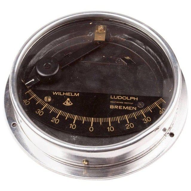 1950s Chrome Ship's Clinometer by W. Ludolph, 1980s For Sale - Image 5 of 5