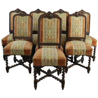 Dining Chairs French Hunting Renaissance Set 8 For Sale