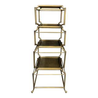 Vintage Gold Pagoda Shelf, 1970s For Sale