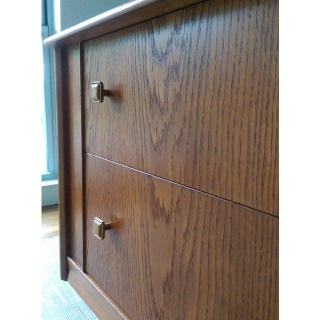 Oak Credenza with Custom Square Pulls - Image 8 of 10