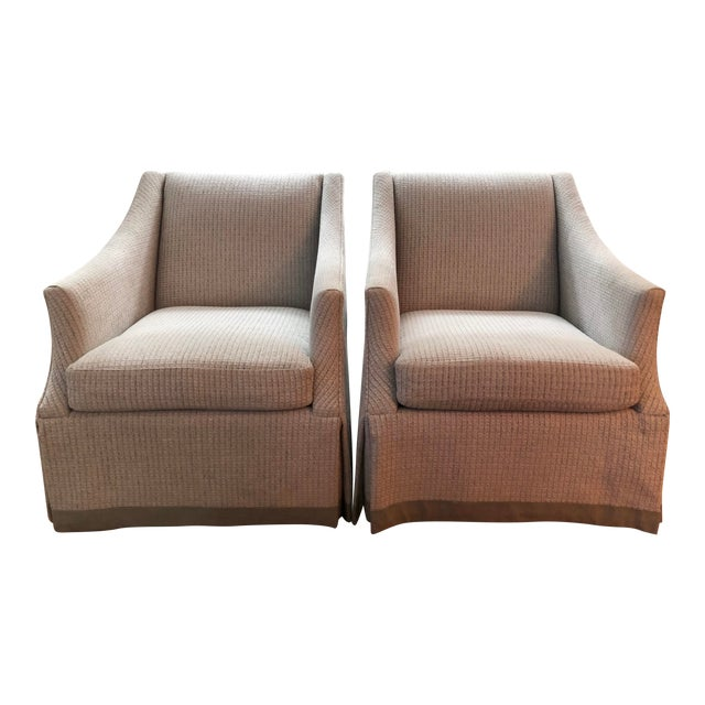 Bernhardt Clayton Swivel Chairs With a Custom Tape Trim - a Pair For Sale