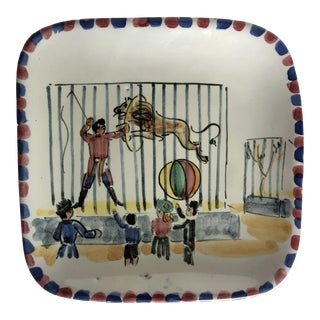 Vintage Italian Pottery Circus Plate For Sale