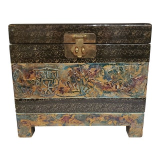 Vintage Asian Brass, Wood and Enamel Box For Sale