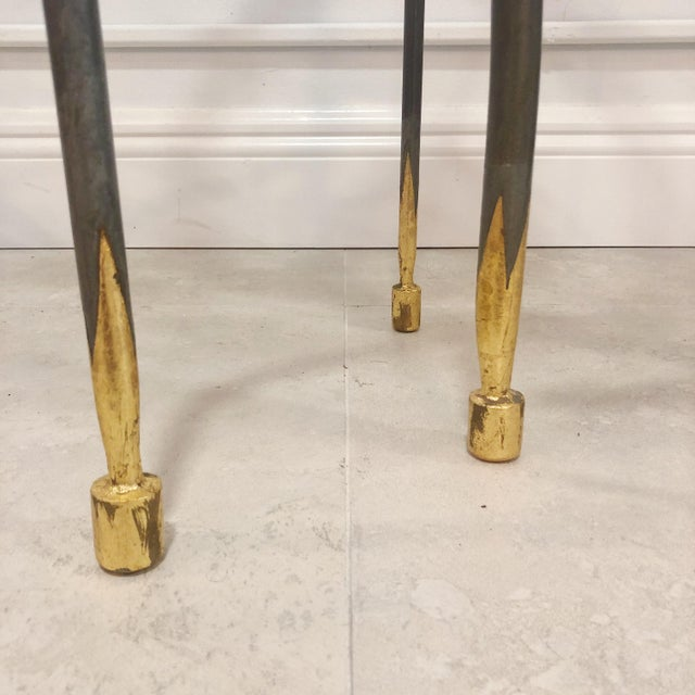 Studio Steel and Gold Leaf Post Modern Sculptural Twist End Tables - a Pair For Sale In West Palm - Image 6 of 9