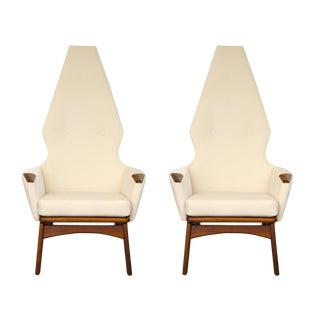 Pair of High Back Adrian Pearsall Chairs in Cream Velvet For Sale